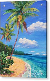 Two Palms In Paradise Acrylic Print by John Clark