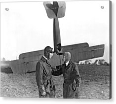 Two Pilots And A Plane Crash Acrylic Print by Underwood Archives