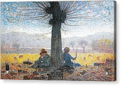 Two Shepherds On The Fields Of Mongini Acrylic Print by Giuseppe Pelizza da Volpedo