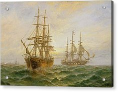 Two Ships Passing At Sunset Acrylic Print by Claude T Stanfield Moore