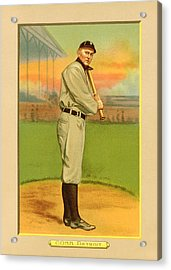 Ty Cobb Baseball Card Portrait Acrylic Print by Gary Bodnar