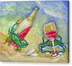 Tybee Blue Crabs Tipsy Acrylic Print by Doris Blessington