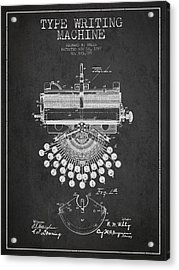 Type Writing Machine Patent Drawing From 1897 - Dark Acrylic Print by Aged Pixel