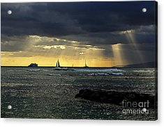 Typical Hawaiian Evening Acrylic Print by Cheryl Young