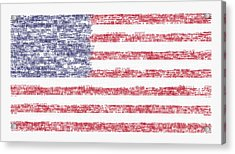Star Spangled Banner Typography Us Flag Acrylic Print by Celestial Images