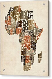 Typography Text Map Of Africa Acrylic Print by Michael Tompsett
