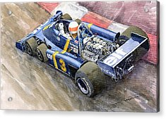 Tyrrell Ford Elf P34 F1 1976 Monaco Gp Jody Scheckter Acrylic Print by Yuriy  Shevchuk
