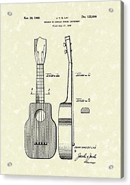 Ukelele 1940 Patent Art Acrylic Print by Prior Art Design