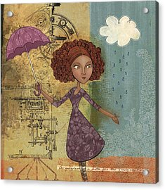 Umbrella Girl Acrylic Print by Karyn Lewis Bonfiglio