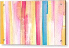 Umrbrella Stripe- Contemporary Abstract Painting Acrylic Print by Linda Woods