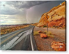 Uncertainty - Lightning Striking During A Storm In The Valley Of Fire State Park In Nevada. Acrylic Print by Jamie Pham