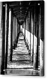 Under Huntington Beach Pier Black And White Picture Acrylic Print by Paul Velgos