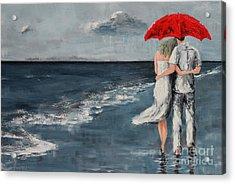 Under Our Umbrella - Modern Impressionistic Art - Romantic Scene Acrylic Print by Patricia Awapara