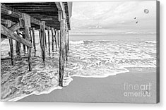 Under The Boardwalk Black And White Acrylic Print by Edward Fielding