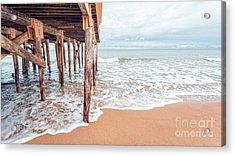 Under The Boardwalk Salsibury Beach Acrylic Print by Edward Fielding