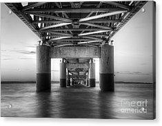 Under The Mackinac Bridge Acrylic Print by Twenty Two North Photography