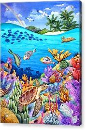 Under The Rainbow Acrylic Print by Carolyn Steele