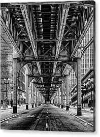 Under The Red Line Acrylic Print by Mike Burgquist