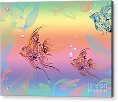 Under The Sea Angel Fish Acrylic Print by Cheryl Young