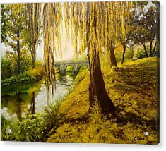 Under The Willow Acrylic Print by Svetla Dimitrova