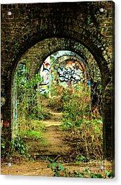 Underneath The Railway Arches Acrylic Print by C Lythgo