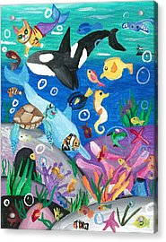Underwater With Kitty And Friends Acrylic Print by Artists With Autism Inc