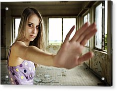 Unhappy Girl Showing Stop Acrylic Print by Radka Linkova