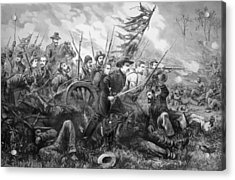Union Charge At The Battle Of Gettysburg Acrylic Print by War Is Hell Store