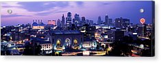 Union Station At Sunset With City Acrylic Print by Panoramic Images