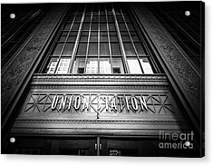 Union Station Chicago In Black And White Acrylic Print by Paul Velgos