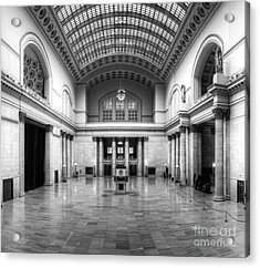 Union Station In Black And White Acrylic Print by Twenty Two North Photography