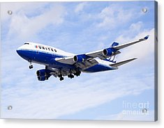 United Airlines Boeing 747 Airplane Flying Acrylic Print by Paul Velgos