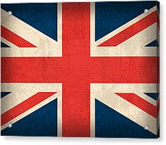 United Kingdom Union Jack England Britain Flag Vintage Distressed Finish Acrylic Print by Design Turnpike