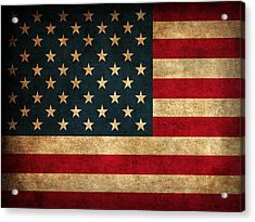 United States American Usa Flag Vintage Distressed Finish On Worn Canvas Acrylic Print by Design Turnpike