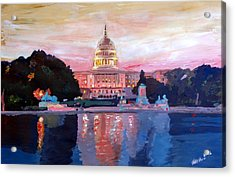 United States Capitol In Washington D.c. At Sunset Acrylic Print by M Bleichner