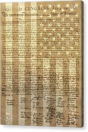 United States Declaration Of Independence Acrylic Print by Dan Sproul