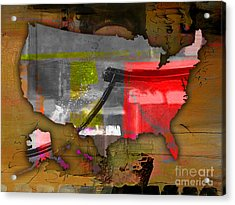 United States Map Watercolor Acrylic Print by Marvin Blaine