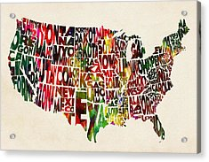 United States Watercolor Map Acrylic Print by Ayse Deniz