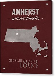 University Of Massachusetts Umass Minutemen Amherst College Town State Map Poster Series No 062 Acrylic Print by Design Turnpike