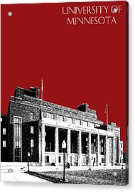 University Of Minnesota - Coffman Union - Dark Red Acrylic Print by DB Artist