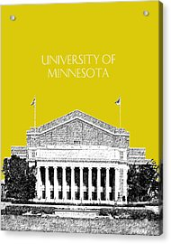 University Of Minnesota 2 - Northrop Auditorium - Mustard Yellow Acrylic Print by DB Artist