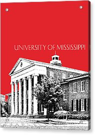 University Of Mississippi - Red Acrylic Print by DB Artist