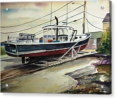 Up For Repairs In Perkins Cove Acrylic Print by Scott Nelson