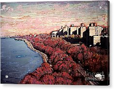 Upper Manhattan Along The Hudson River Acrylic Print by Sarah Loft