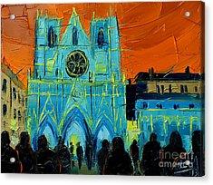 Urban Story - The Festival Of Lights In Lyon Acrylic Print by Mona Edulesco