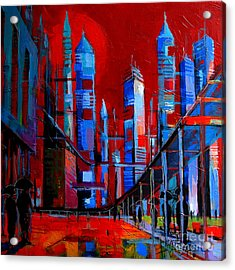 Urban Vision - City Of The Future Acrylic Print by Mona Edulesco