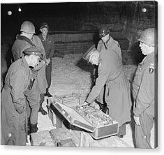 U.s. Commanders Examine A Suitcase Acrylic Print by Everett