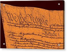 Us Constitution Closeup Sculpture Red Brown Background Acrylic Print by L Brown
