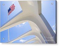 U.s.  Flag At The Uss Arizona Memorial Acrylic Print by Diane Diederich