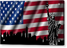 Usa American Flag With Statue Of Liberty Skyline Silhouette Acrylic Print by David Gn